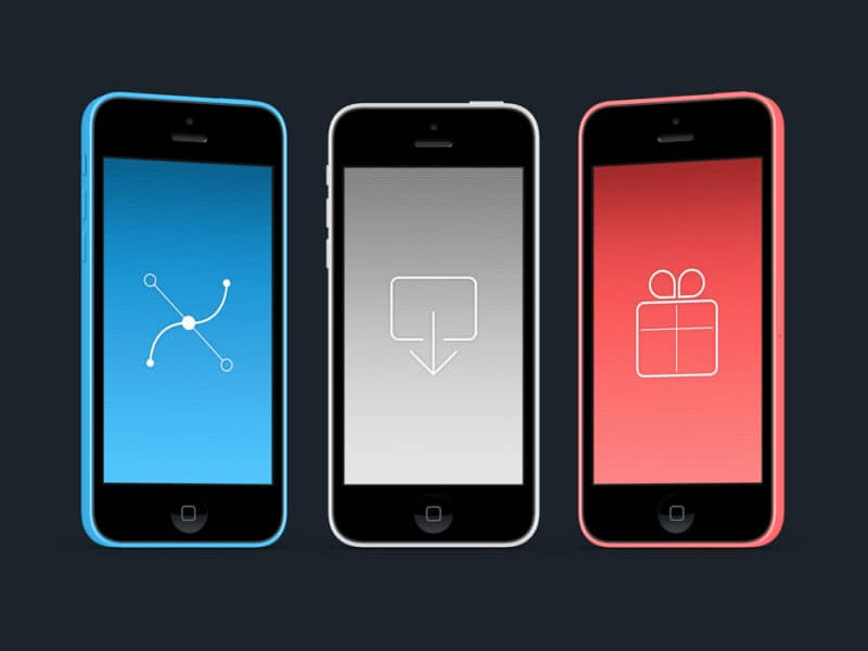 Скачать три макета iPhone 5C