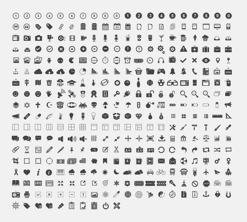 Набор из 350 векторных иконок
