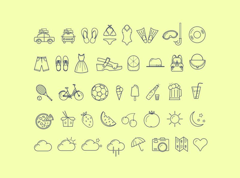 Набор летних детализированных иконок