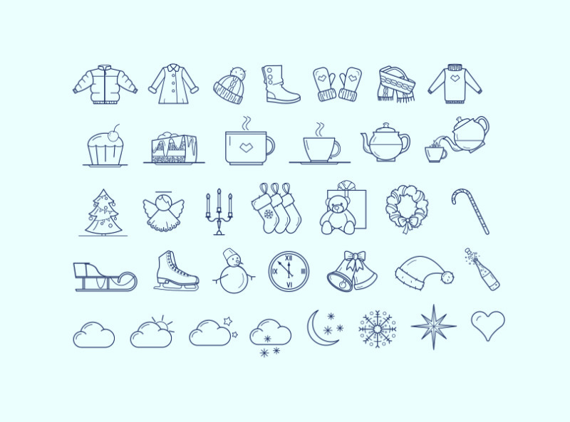 Набор зимних иконок