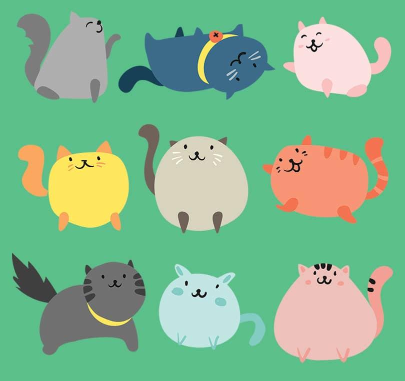 Веселые иконки пухлых котов